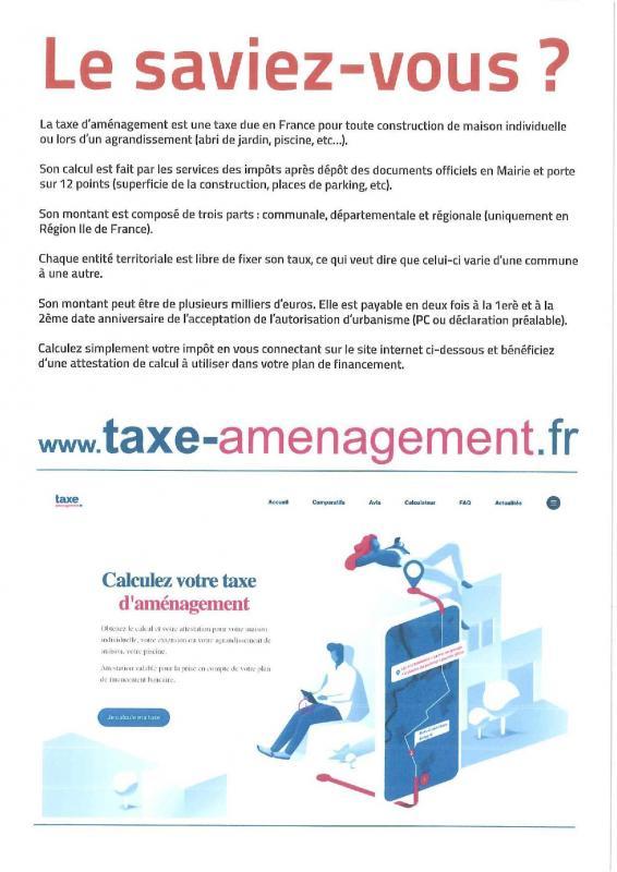 Affiche taxe d amenagement