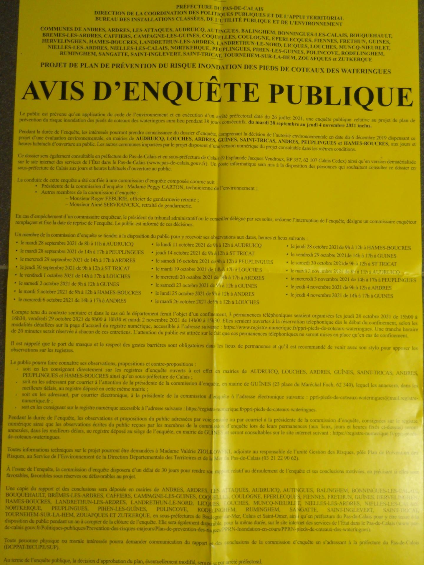Avis enquete publique ppri coteaux des wateringues