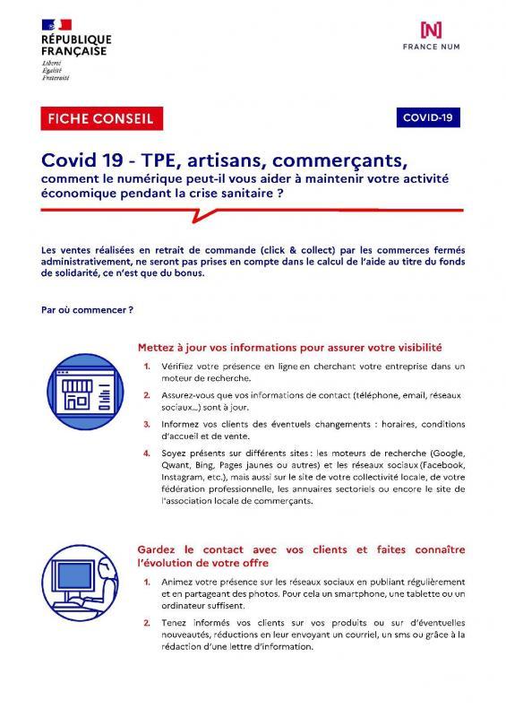 Fiche conseil covid numerique tpe artisans commercants page 001