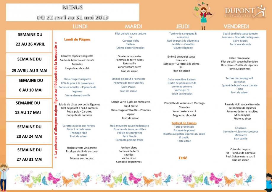 Menu scolaire 4 elements 4 jours avril mai 2019