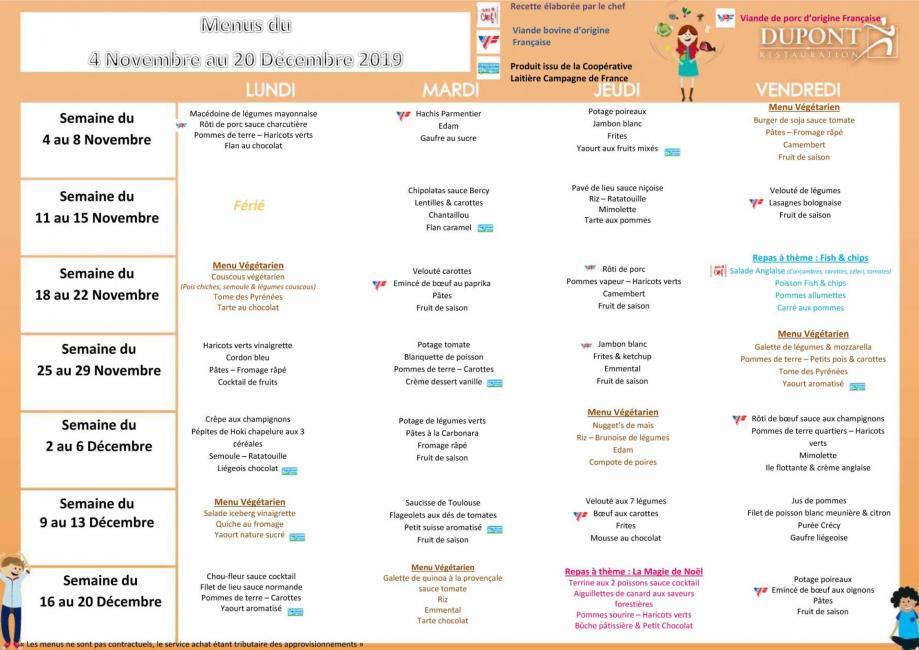 Menu scolaire 4 elements 4 jours novembre decembre 2020