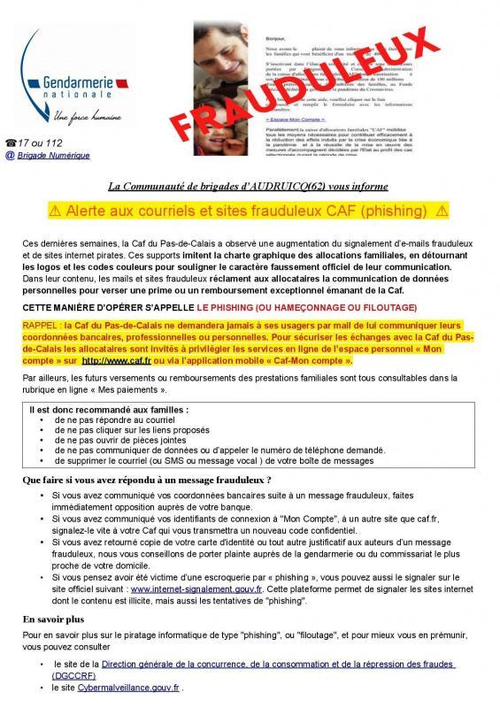 Sensibilisation phishing caf pas de calais page 001